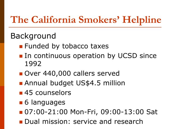 The california smokers helpline