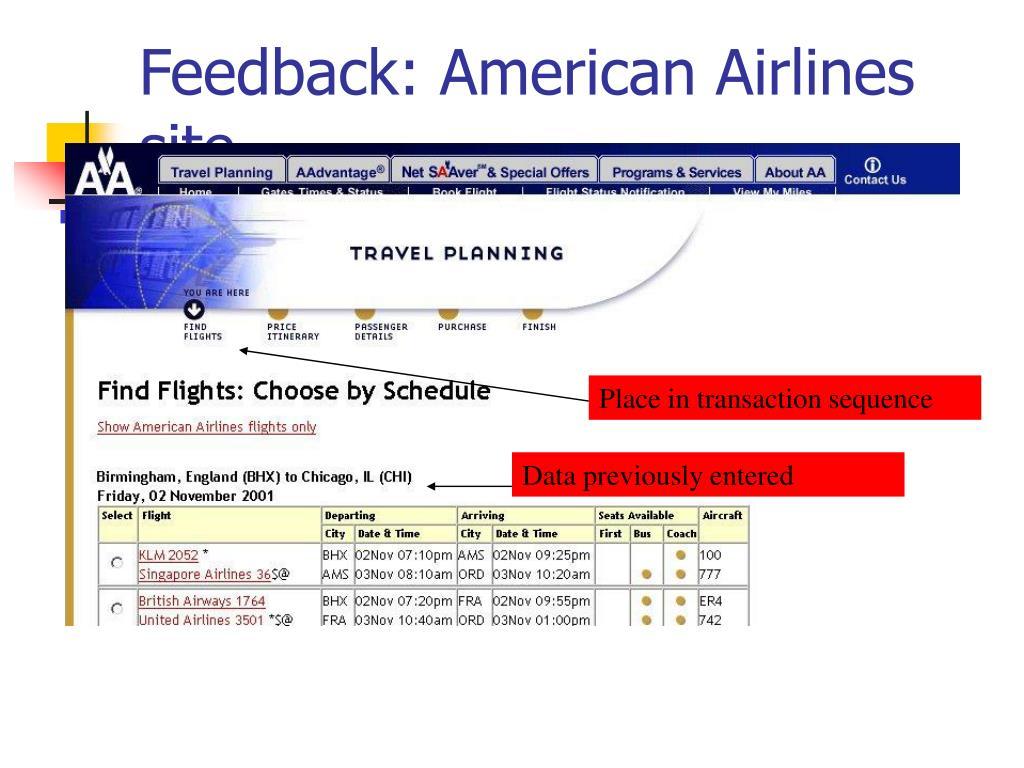 Feedback: American Airlines site