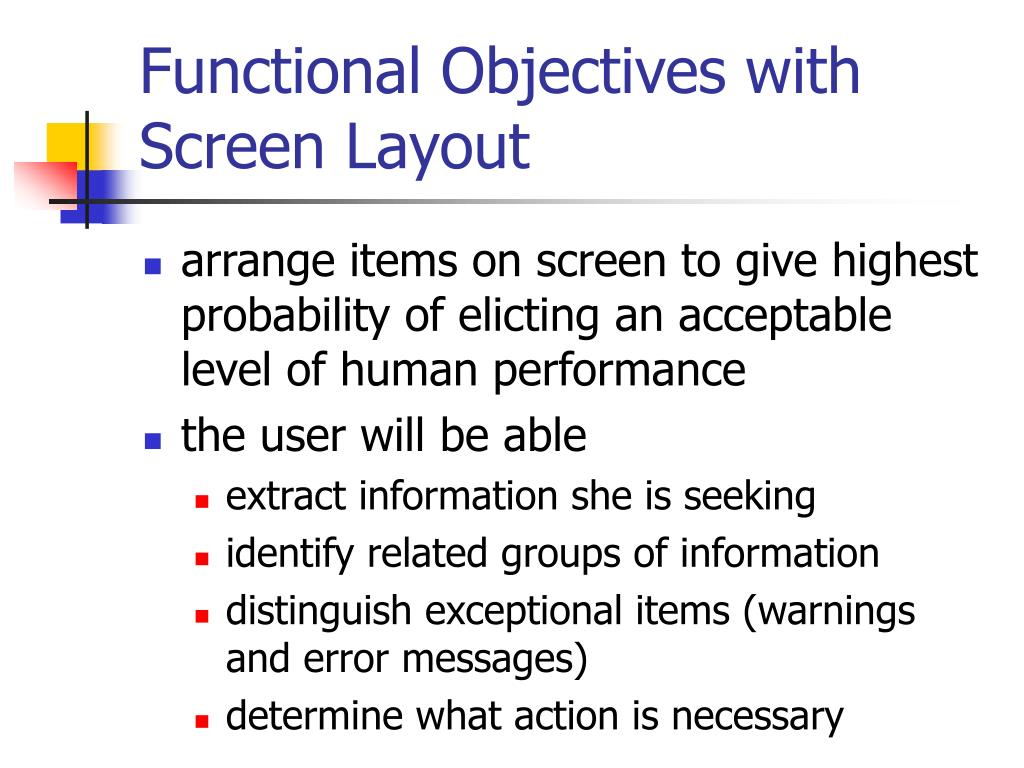 Functional Objectives with Screen Layout