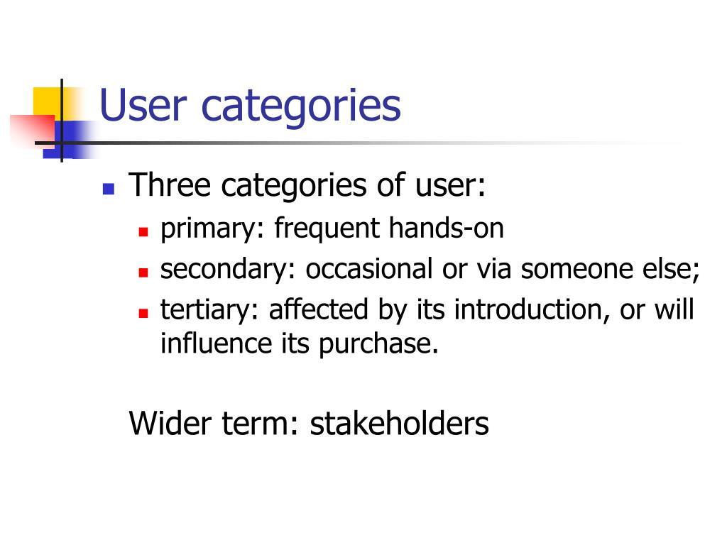 User categories