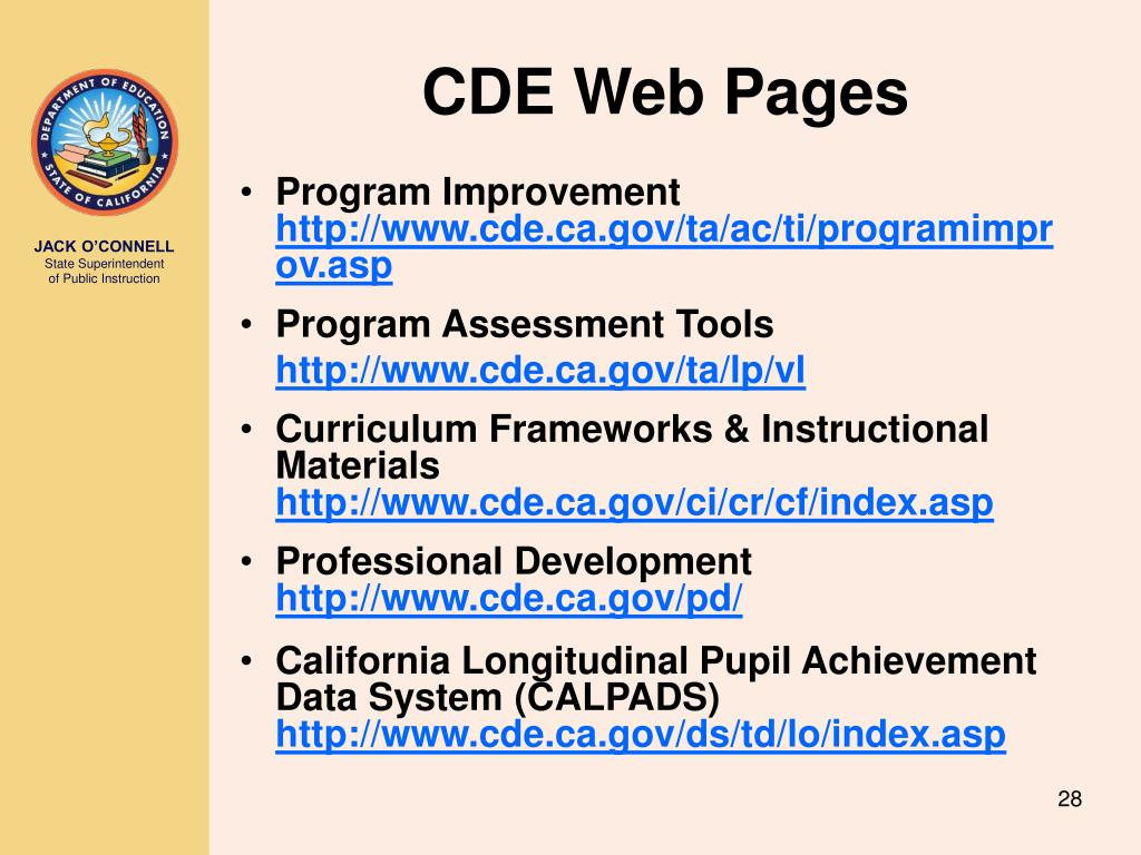 CDE Web Pages