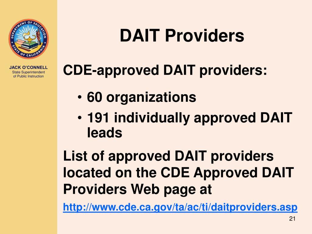 DAIT Providers