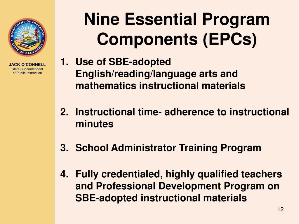 Nine Essential Program Components (EPCs)