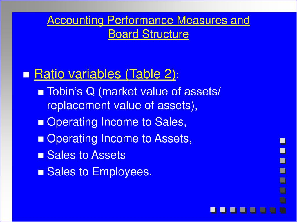 Accounting Performance Measures and