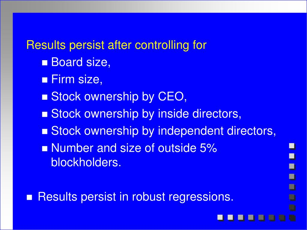 Results persist after controlling for