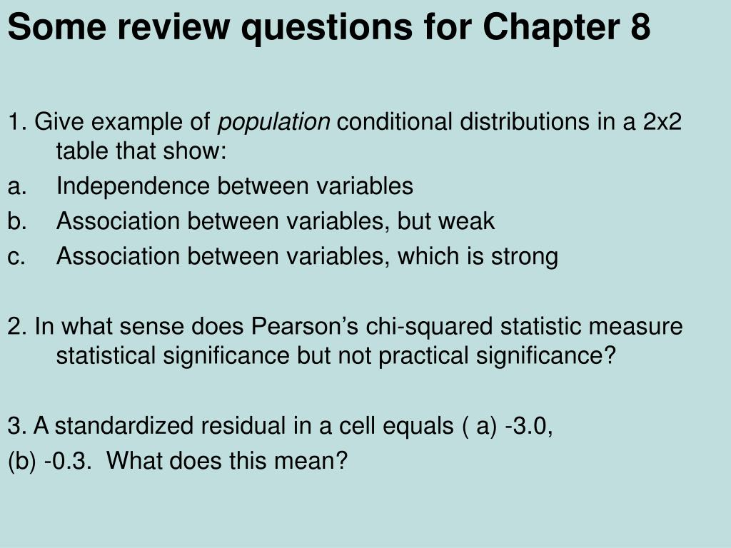 Some review questions for Chapter 8