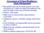 assessment of school readiness study background