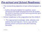 pre school and school readiness