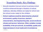 transition study key findings