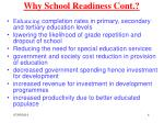 why school readiness cont