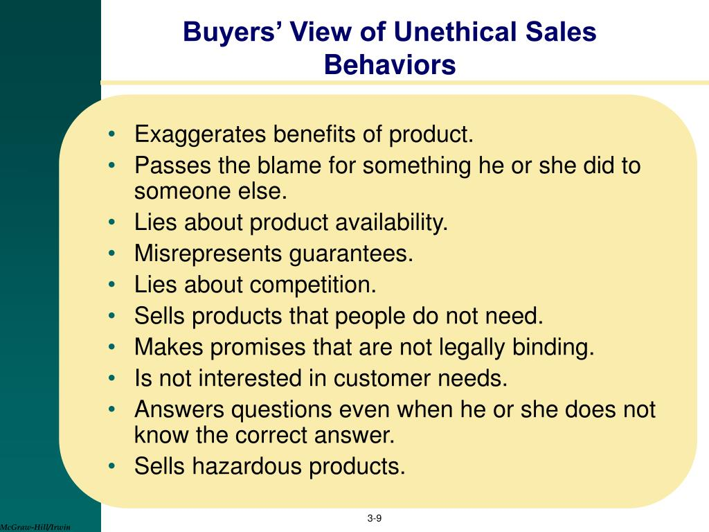 Buyers' View of Unethical Sales Behaviors