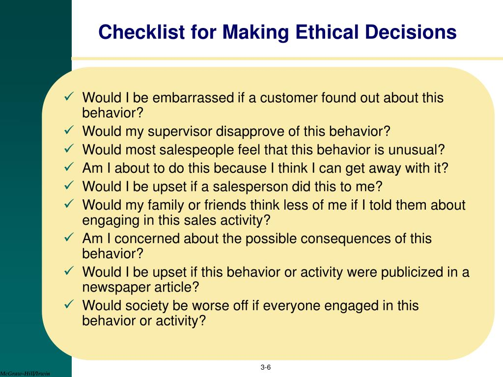 Checklist for Making Ethical Decisions