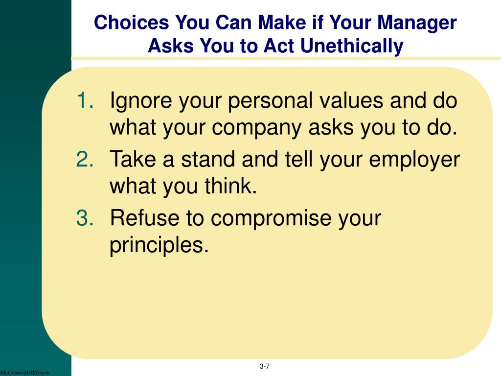 Choices You Can Make if Your Manager Asks You to Act Unethically