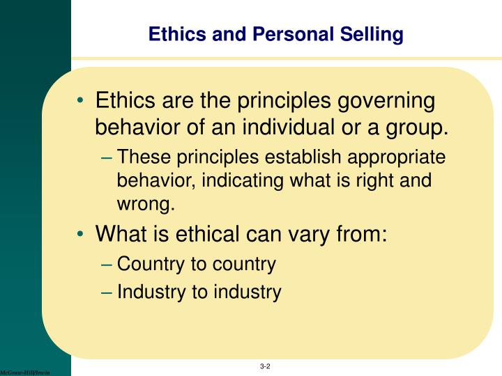 Ethics and personal selling