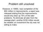 problem still unsolved