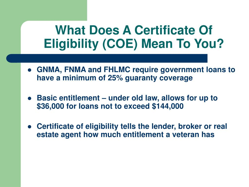 What Does A Certificate Of Eligibility (COE) Mean To You?