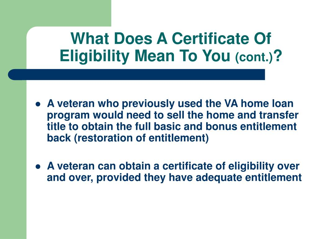 What Does A Certificate Of Eligibility Mean To You