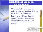 high school credit in middle school