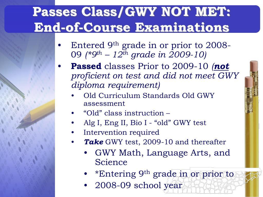 Passes Class/GWY NOT MET: