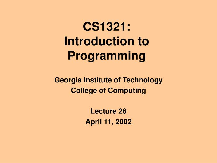 Cs1321 introduction to programming