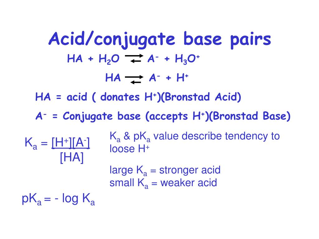 Acid/conjugate base pairs