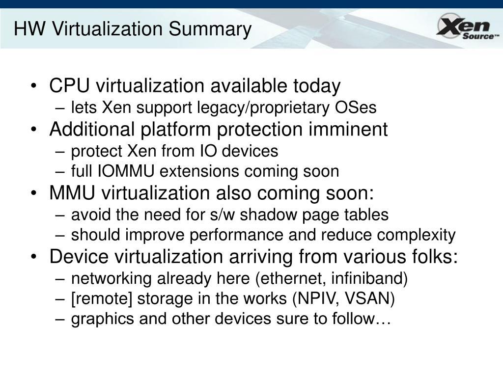 HW Virtualization Summary