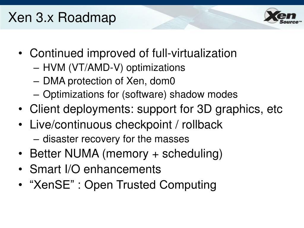Xen 3.x Roadmap