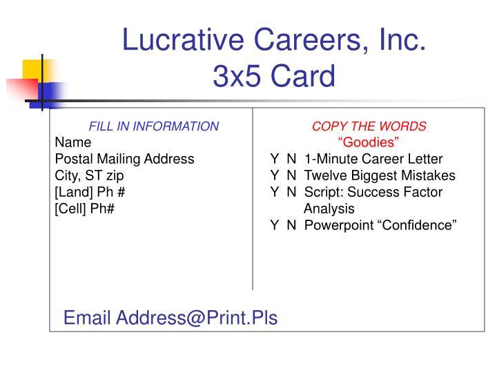 Lucrative careers inc 3x5 card
