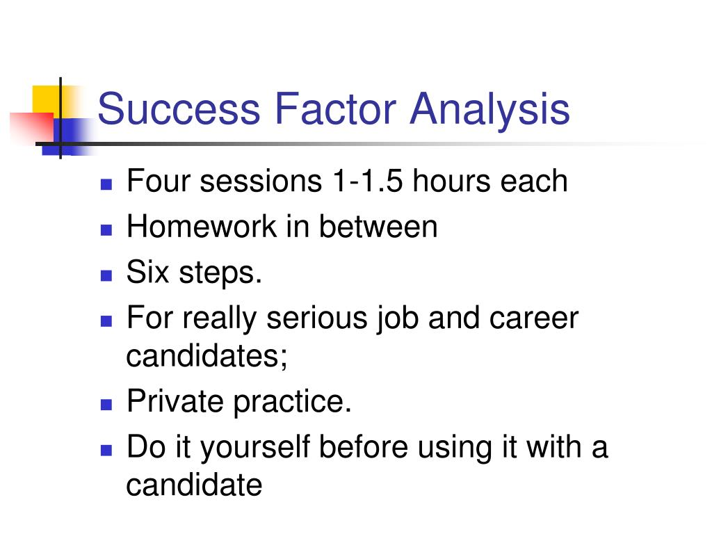 Success Factor Analysis