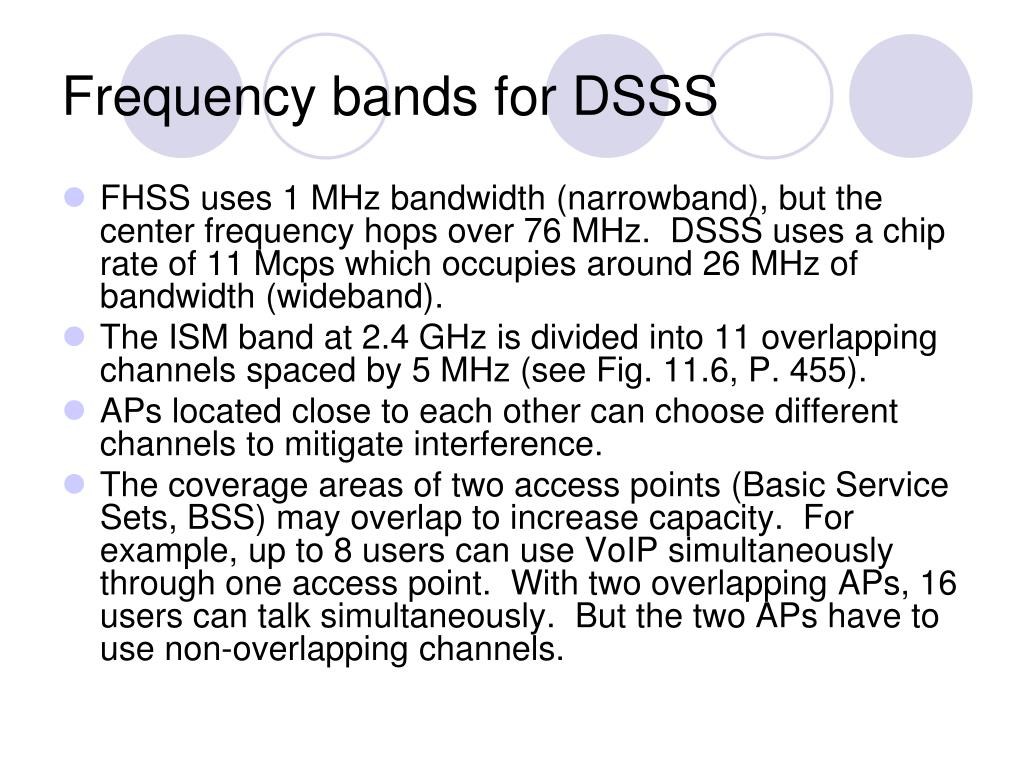Frequency bands for DSSS