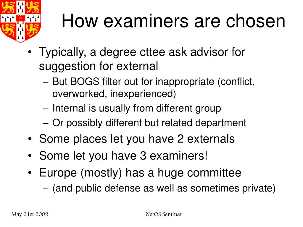 How examiners are chosen