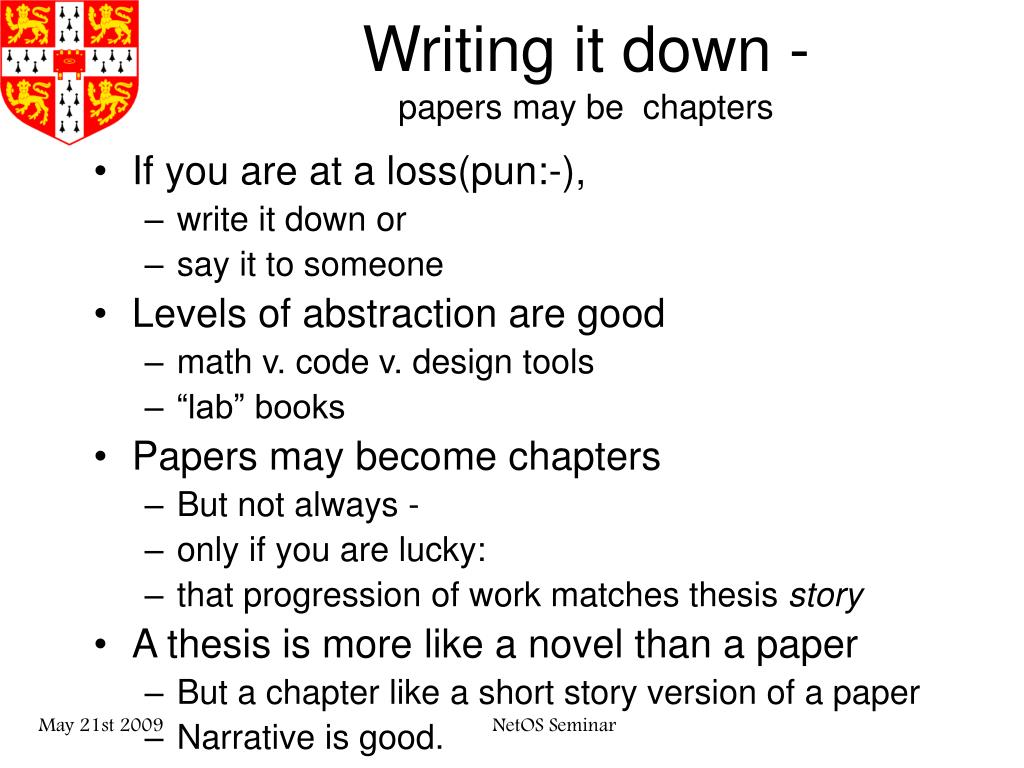 Writing it down -