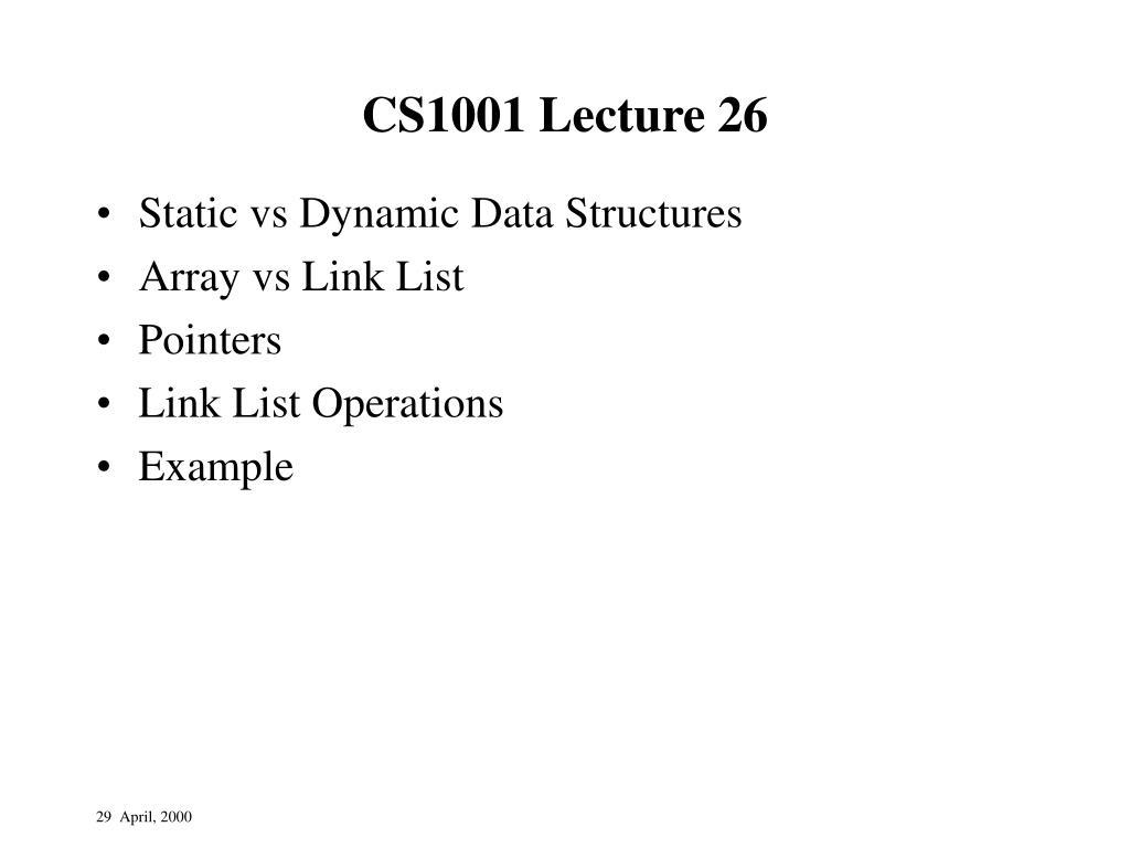 cs1001 lecture 26 l.