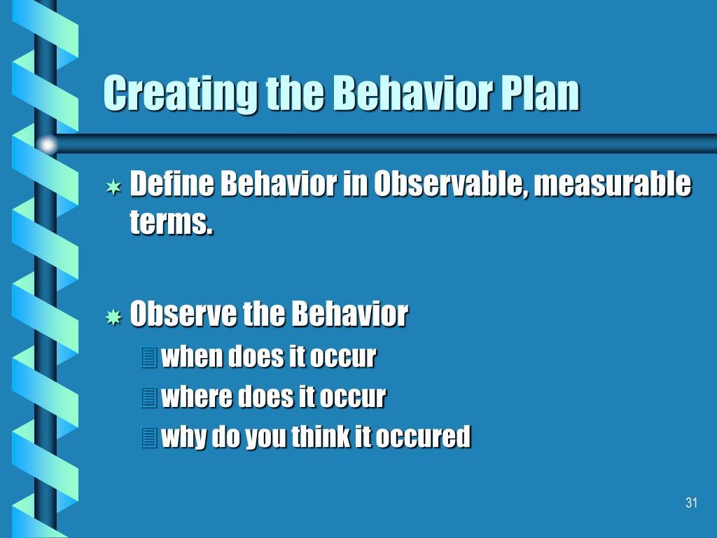 Creating the Behavior Plan