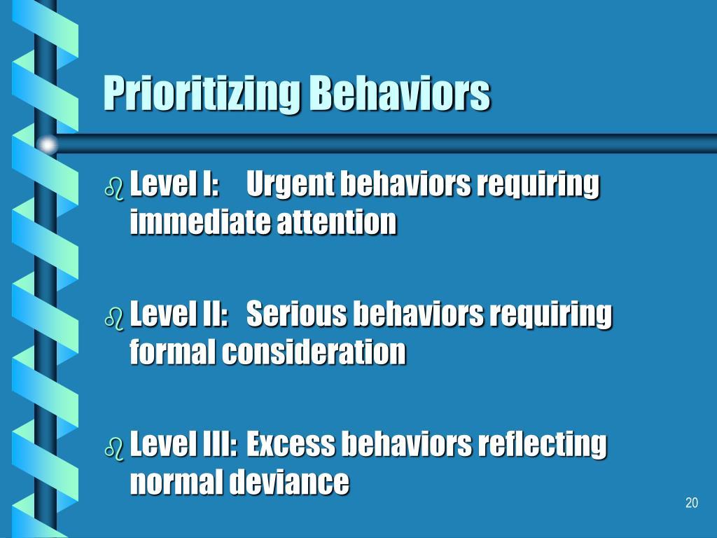 Prioritizing Behaviors
