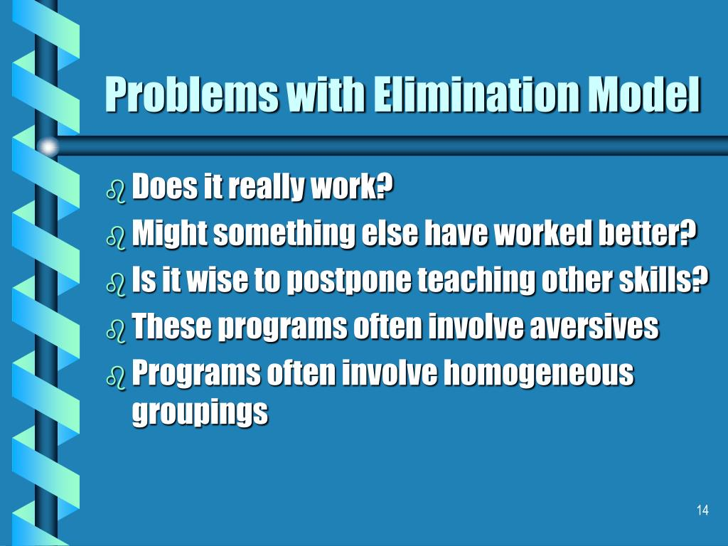 Problems with Elimination Model