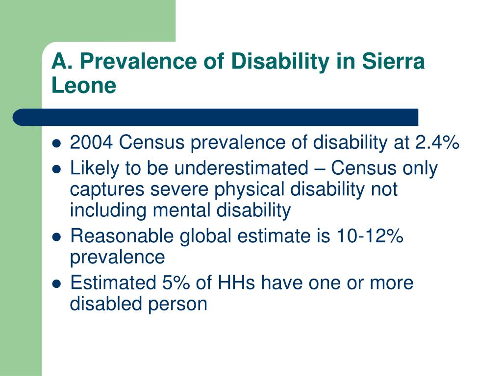A. Prevalence of Disability in Sierra Leone