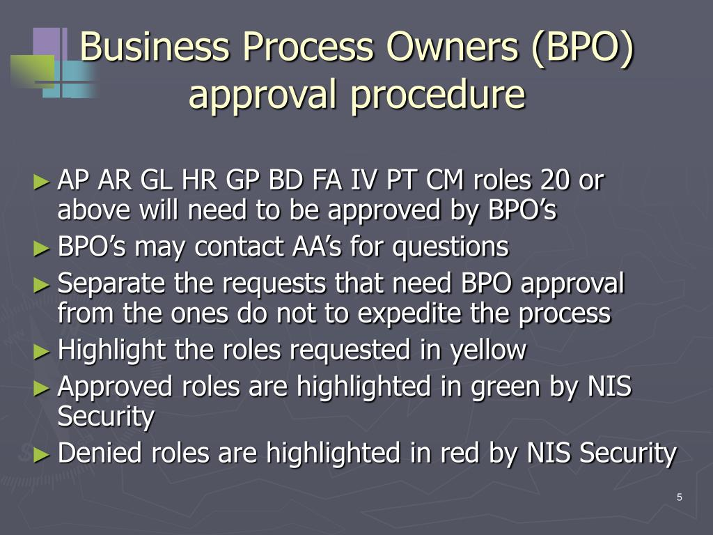 Business Process Owners (BPO) approval procedure