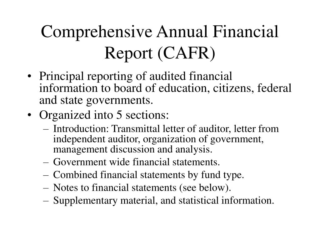 Comprehensive Annual Financial Report (CAFR)