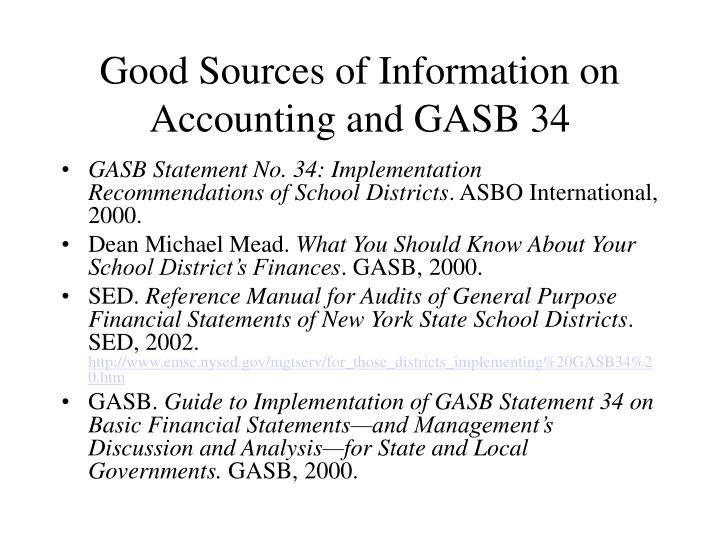 Good sources of information on accounting and gasb 34