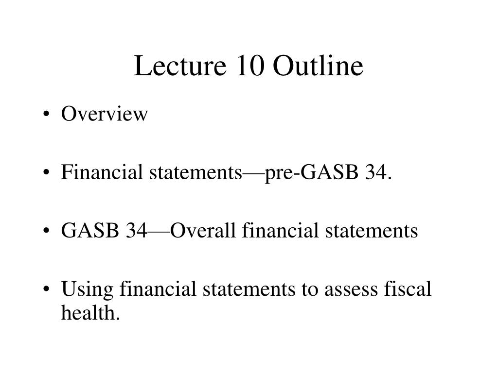 Lecture 10 Outline