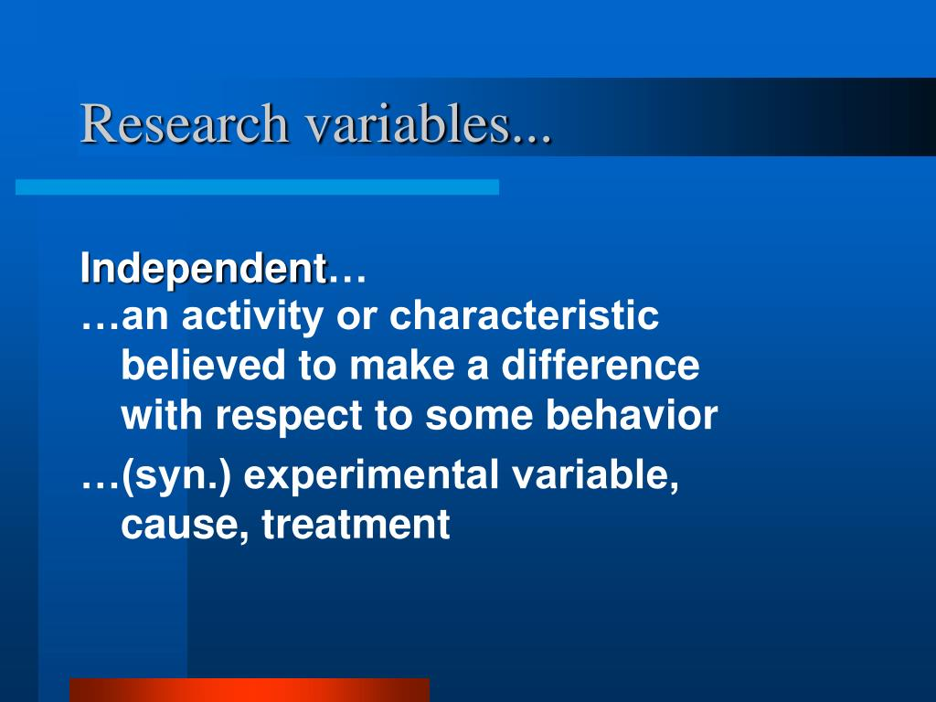 Research variables...