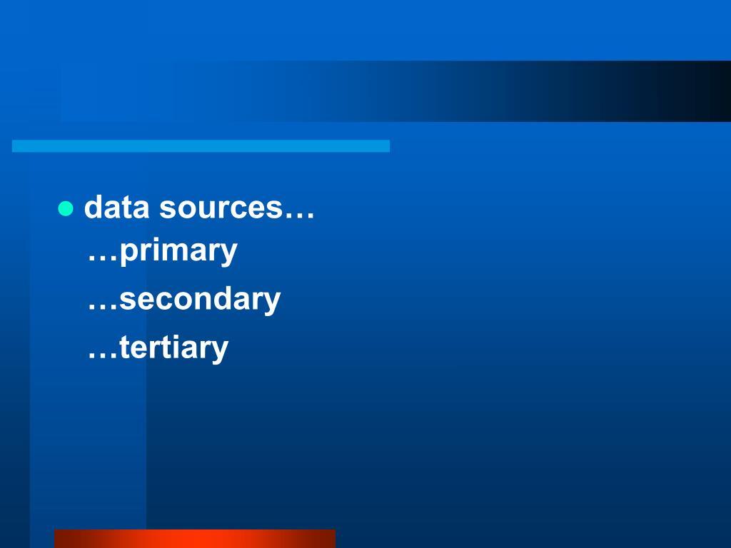 data sources…