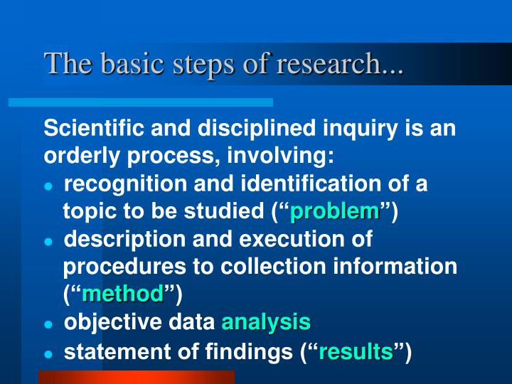 The basic steps of research