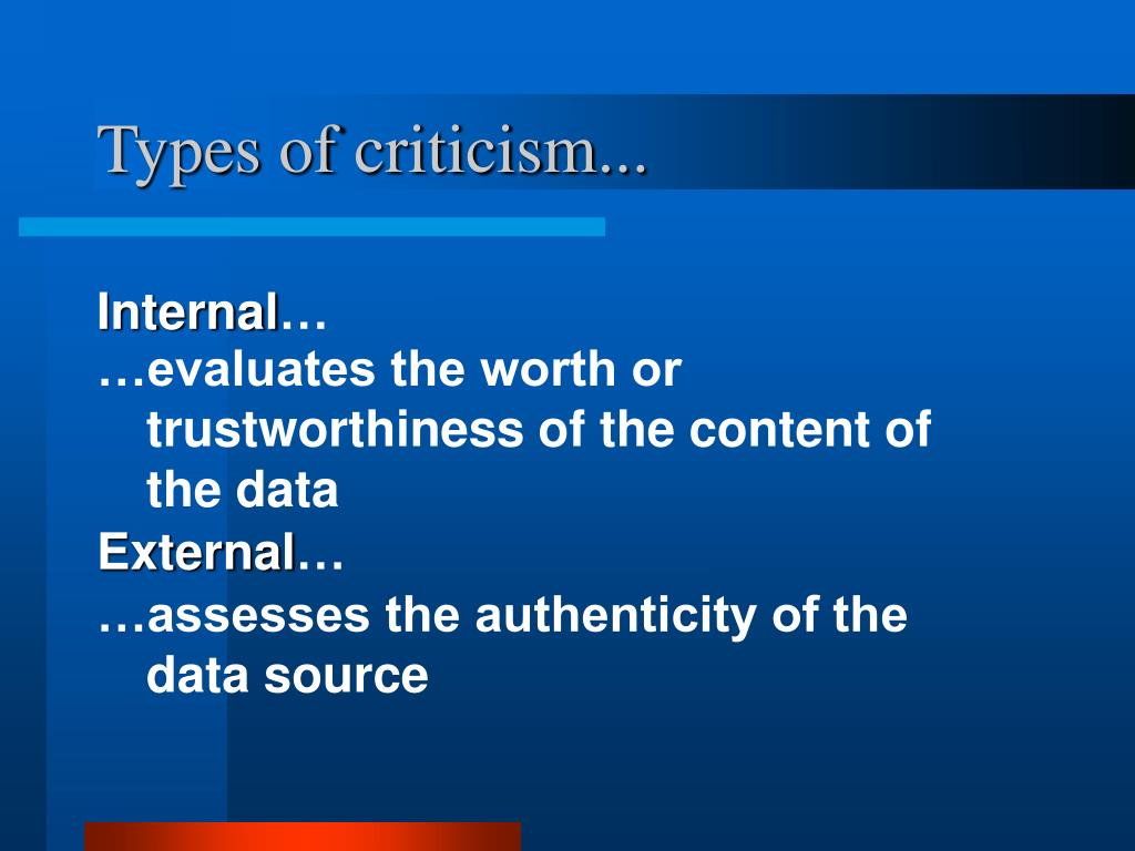 Types of criticism...