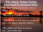 why athletic trainers need to understand psychological skills