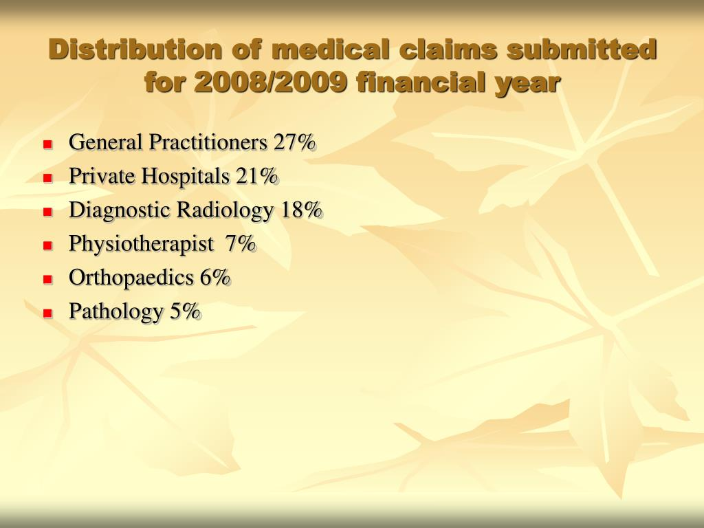 Distribution of medical claims submitted for 2008/2009 financial year