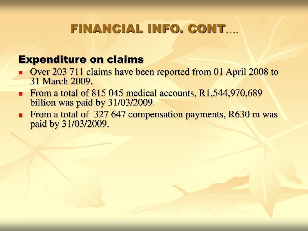 FINANCIAL INFO. CONT