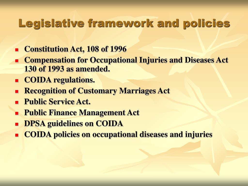Legislative framework and policies
