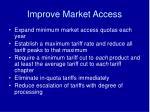improve market access